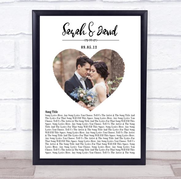 Heart Wedding Photo White Names Date Bottom Script Any Song Lyric Wall Art Print