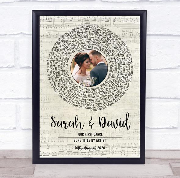 Music Script Vinyl Record Wedding First Dance Photo Any Song Lyric Art Print