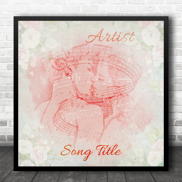 Kissing Couple Romantic Chic Floral Square Any Song Personalised Music Song Lyric Art Print
