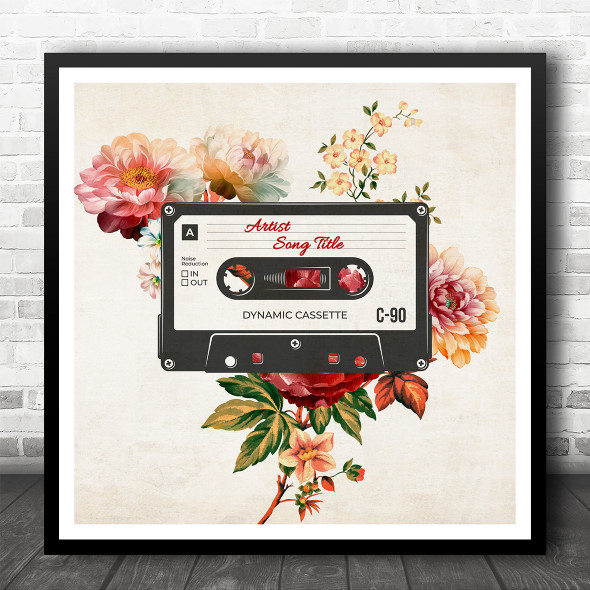 Vintage Floral Cassette Tape Square Any Song Personalised Square Music Song Lyric Art Print