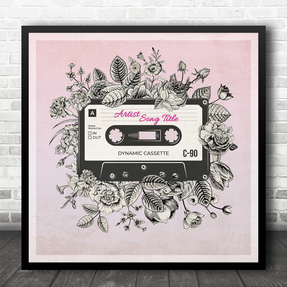 Pink Vintage Floral Cassette Tape Square Any Song Personalised Music Song Lyric Art Print