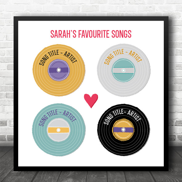 4 Favourite Songs Vinyl Records Square Any Songs Personalised Music Song Lyric Art Print