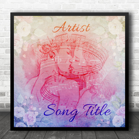 Kissing Couple Blue Pink Floral Square Any Song Personalised Music Song Lyric Art Print