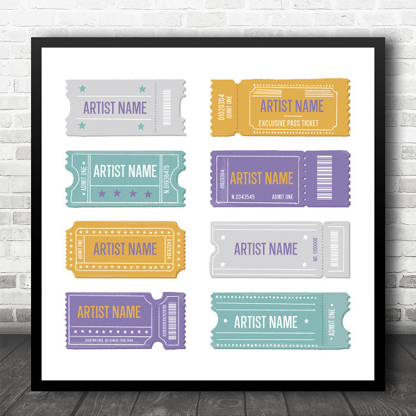 Concert Tickets Any Artists Song Square Personalised Square Music Song Lyric Art Print