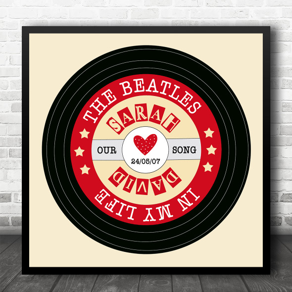 Red Yellow Square Vinyl Record Any Song Personalised Square Music Song Lyric Art Print