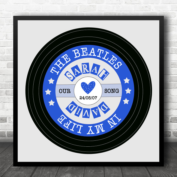 Blue Grey Square Vinyl Record Any Song Personalised Square Music Song Lyric Wall Art Print