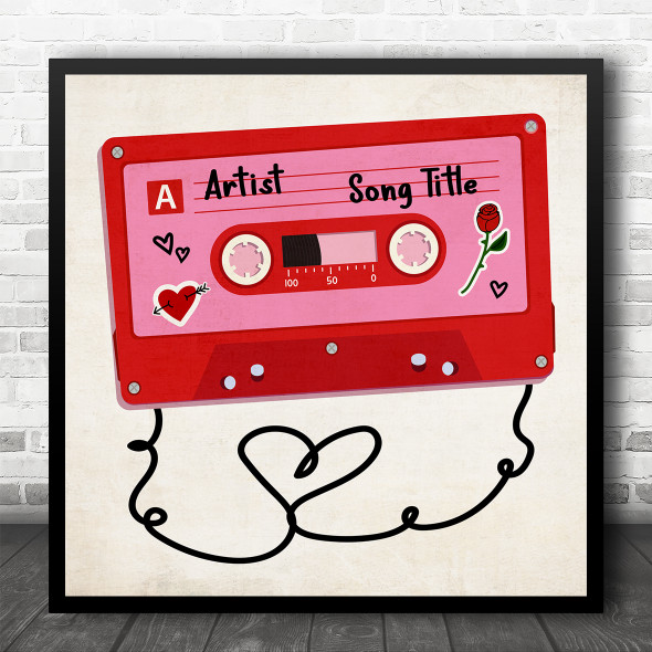 Red Pink Cassette Tape Square Any Song Personalised Square Music Song Lyric Wall Art Print