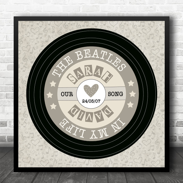 Script Square Vinyl Record Any Song Personalised Square Music Song Lyric Wall Art Print