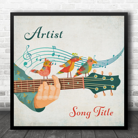 Songbirds On Guitar Any Song Square Personalised Square Music Song Lyric Wall Art Print