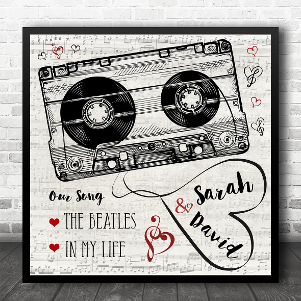 Square Music Script Cassette Tape Our Any Song Personalised Music Lyric Wall Art Print