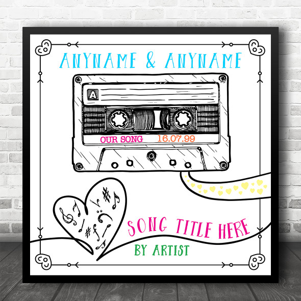 Retro Sketch Cassette Tape Square Our Any Song Personalised Music Lyric Wall Art Print