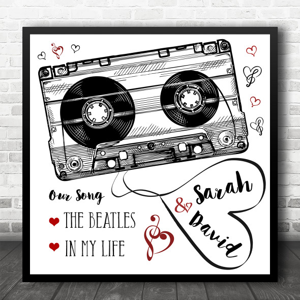 Black White Red Cassette Tape Square Any Song Personalised Music Lyric Wall Art Print