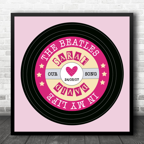 Pink Square Vinyl Record Any Song Personalised Square Music Song Lyric Wall Art Print