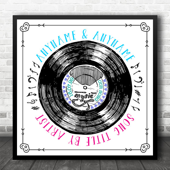 Sketch Record Our Any Song Square Personalised Square Music Song Lyric Wall Art Print