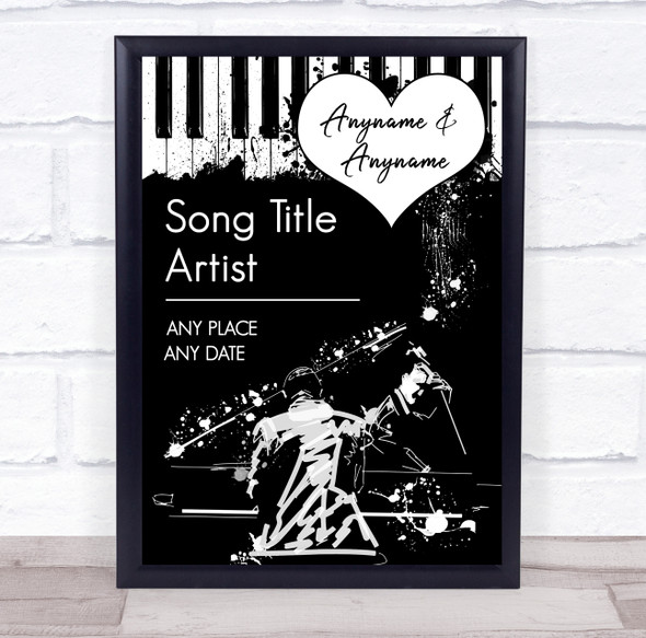 Jazz Grunge Any Song & Text Black & White Personalised Music Song Lyric Wall Art Print