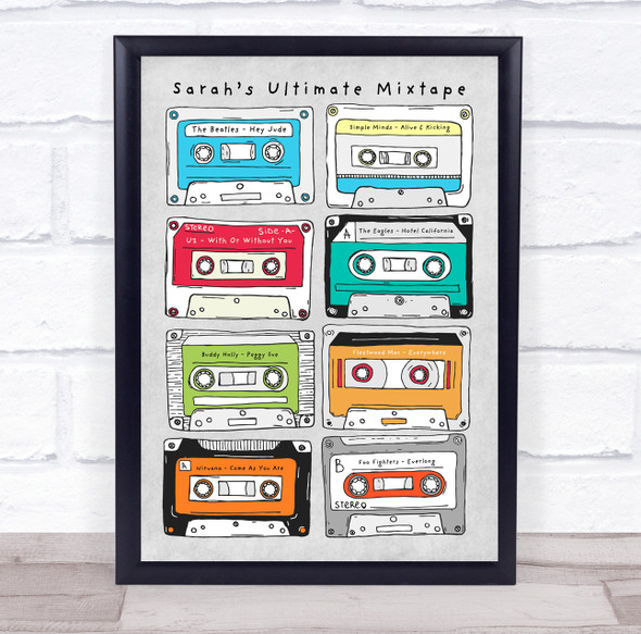 Cassette Tapes Any Text Songs Or Artists Personalised Music Song Lyric Wall Art Print