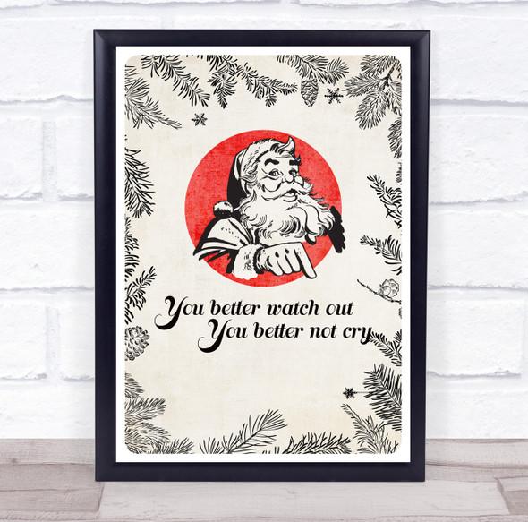 Retro You Better Watch Out Lyrics Christmas Wall Art Print