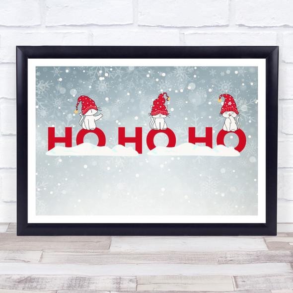 Cats Grey Landscape Christmas Ho Ho Ho Wall Art Print