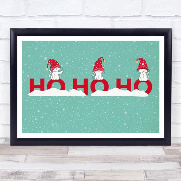 Cats Teal Landscape Christmas Ho Ho Ho Wall Art Print
