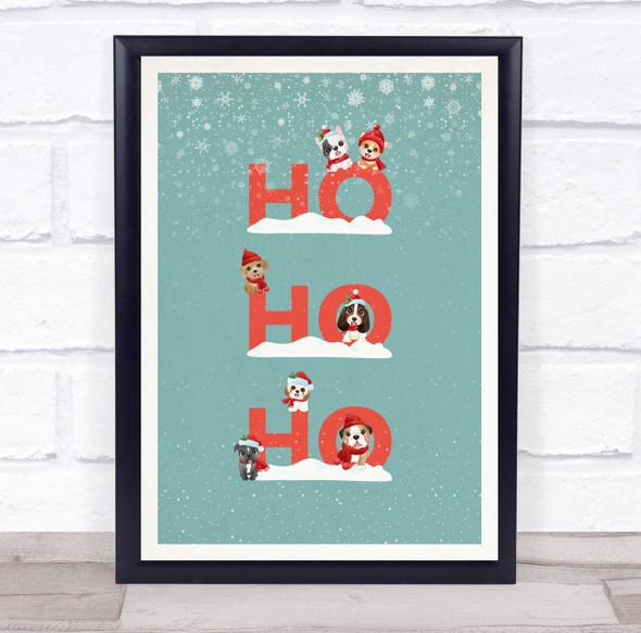 Dogs Teal Portrait Christmas Ho Ho Ho Wall Art Print