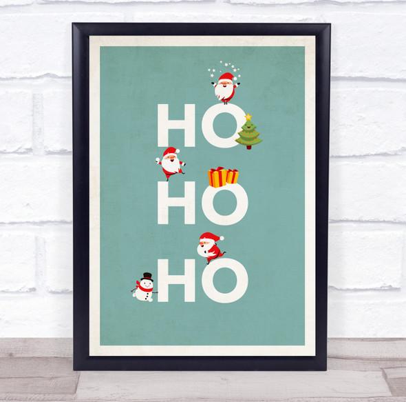 Santa Figures Teal Christmas Ho Ho Ho Wall Art Print