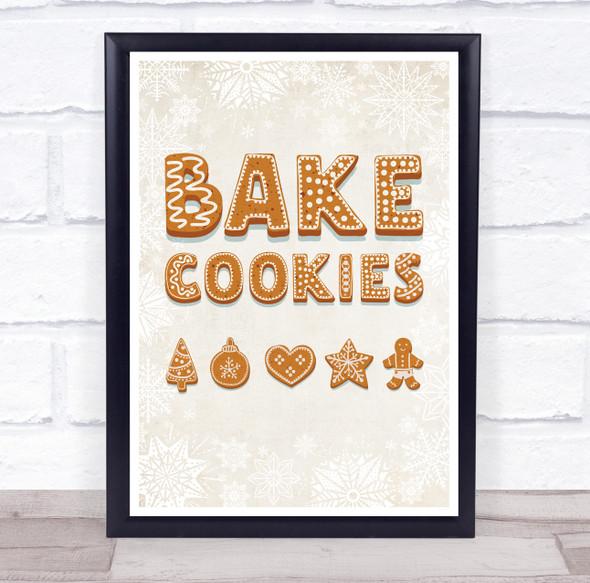 Cookies Font Bake Cookies Christmas Wall Art Print