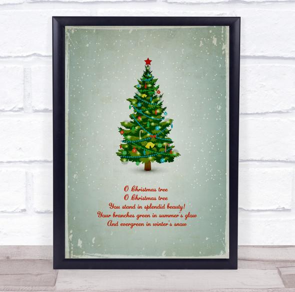 Christmas Tree Grey Red Lyrics Wall Art Print