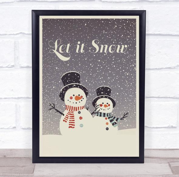 Let it Snow Snowmen Christmas Wall Art Print