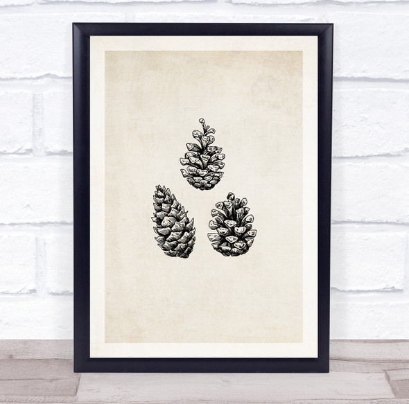Vintage Pine Cones Christmas Wall Art Print