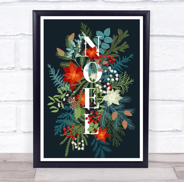 Noel Blue Christmas Wall Art Print