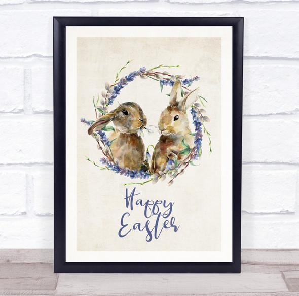 Blue Happy Easter Cute Bunnies Wall Art Print