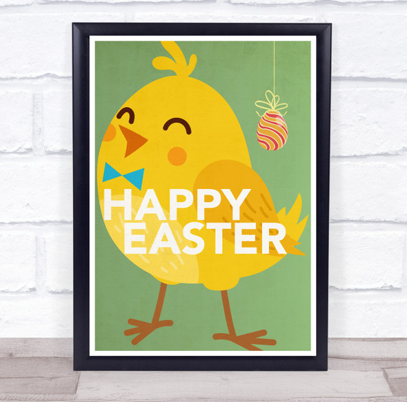 Yellow Chick Happy Easter Wall Art Print