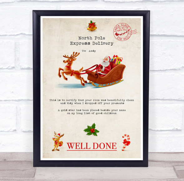 Santa's North Pole Express Delivery Tidy Room Christmas Personalised Certificate