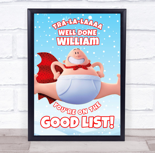 Captain Underpants' Christmas Good List Snow Blue Personalised Certificate Award