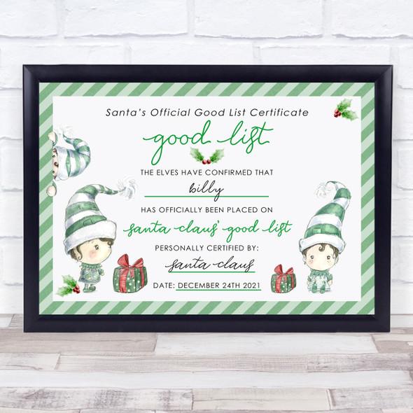 Green Elf Christmas Print Santa's Good List Personalised Certificate Award Print
