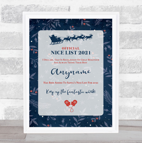 Official Nice List Dark Blue Christmas Sign Personalised Certificate Award Print