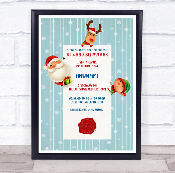 Official North Pole Good Behaviour Teal Snow Christmas Personalised Certificate