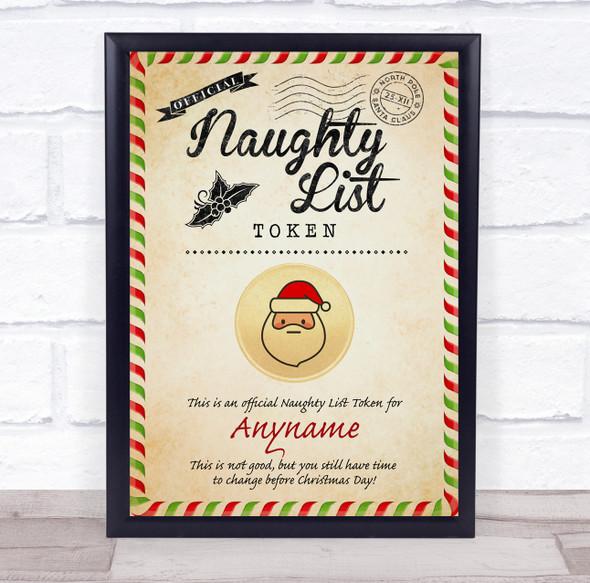 Christmas Vintage Style Naughty List Santa Token Personalised Certificate Award