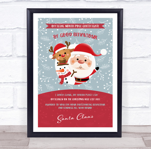 Official North Pole Good Behaviour Red Christmas Sign Personalised Certificate