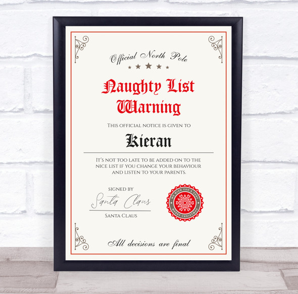 Christmas Naughty List Warning With Stamp Personalised Certificate Award Print