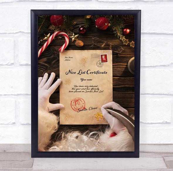 Written By Santa Nice List Christmas Sign Personalised Certificate Award Print