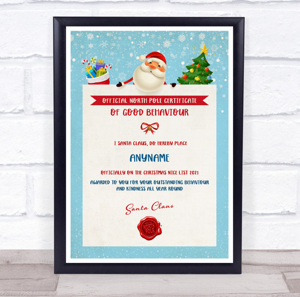 Official North Pole of Good Behaviour Teal Christmas Personalised Certificate