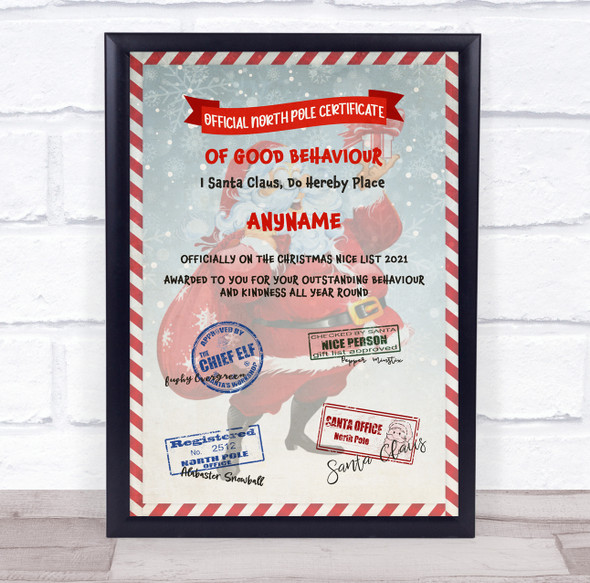 North Pole Good Behaviour Candy Cane Christmas Personalised Certificate Award