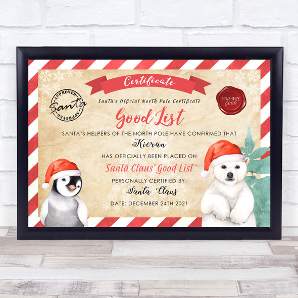 Vintage Style Christmas Polar Bear Red Christmas Hat Personalised Certificate