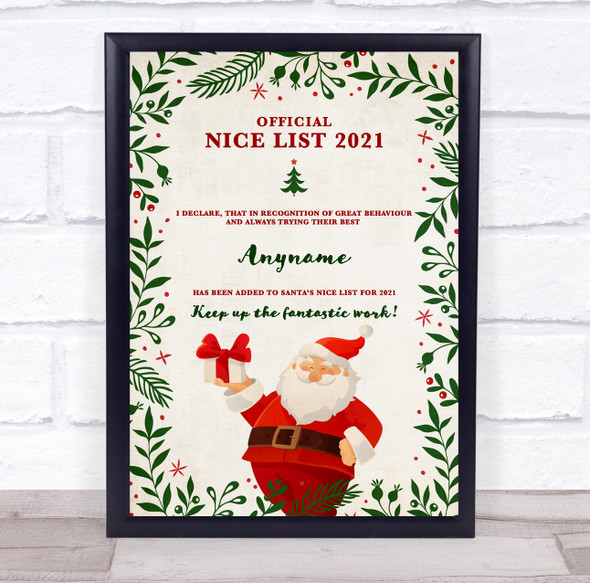 Green Nature Official Nice List Christmas Sign Personalised Certificate Award