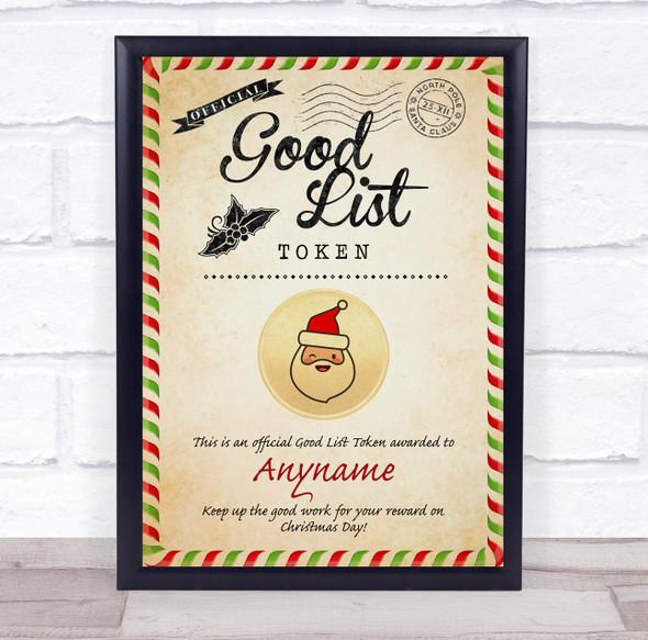 Christmas Vintage Style Good List Santa Token Personalised Certificate Award