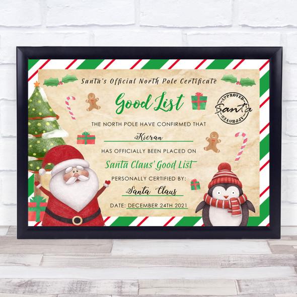 Santa's Good List Green Christmas Print Personalised Certificate Award Print