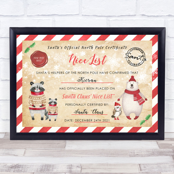 Christmas Santa's Nice List Polar Bears North Pole Personalised Certificate