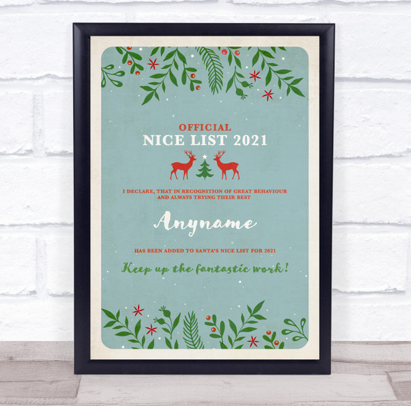 Official Nice List Light Teal Christmas Sign Personalised Certificate Award
