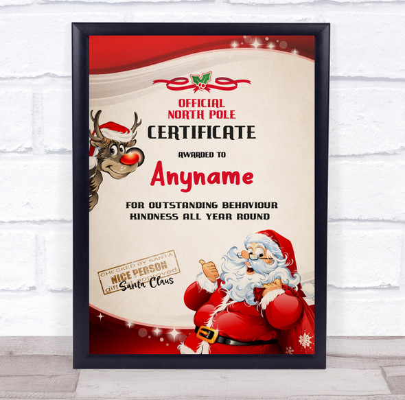 Official North Pole Red Santa Christmas Sign Personalised Certificate Award